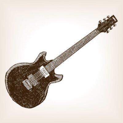 Elektrische gitarre hand gezeichnete skizze stil vektor ...
