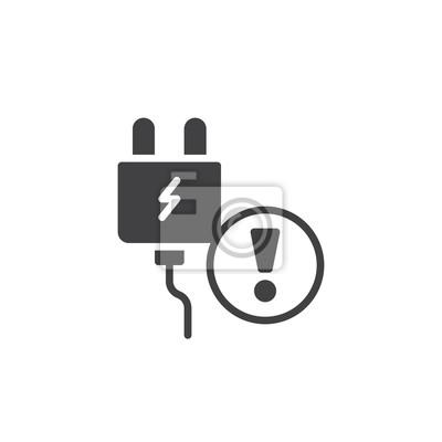 Elektrische stecker alarm icon vektor, gefüllt flache zeichen ...