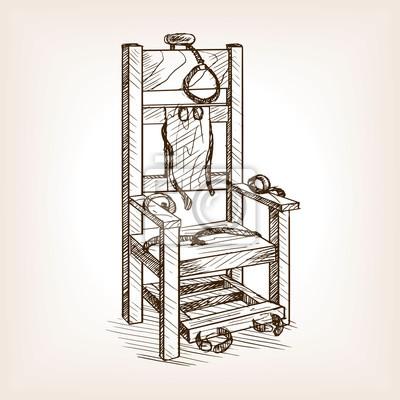 Bild Elektrische Stuhl Skizze Stil Vektor Illustration