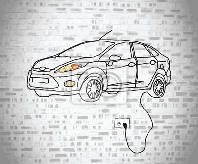 Elektro-Auto-doodle steckt in die Wand