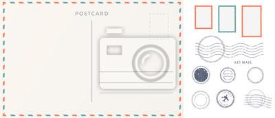 Bild Elements for empty postcard back. Postage stamps and imprints. Travel card design set.