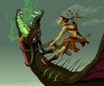 Bild Elf fährt auf dem Drachen