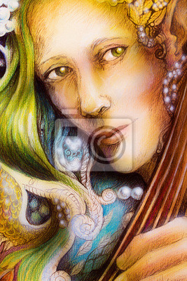 Elven Mann Gesicht mit grünen Haaren, Perlen spielen ein Saiteninstrument