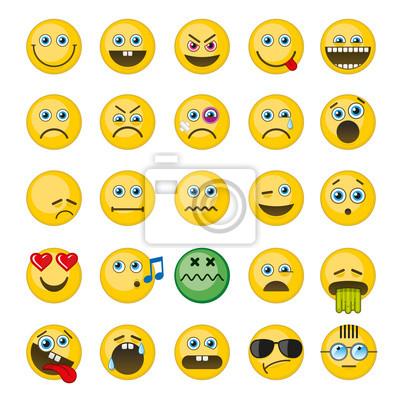 Bild Emoji, Emoticons Vektor-Icons gesetzt. Emotionsmiley, wütender smiley, fröhlicher lustiger smiley, barf smileyillustration