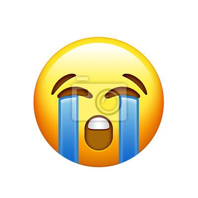 Emoji Gelbes Trauriges Gesicht Mit Weinendem Tranensymbol