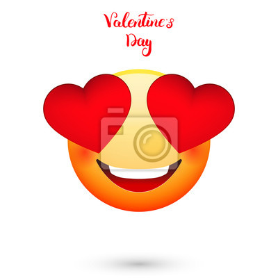 Emoticon Fur Valentinstag Emoji Mit Herzen Augen Leinwandbilder