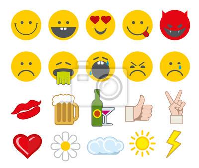 Bild Emoticon Vektor-Icons mit Daumen nach oben, Chat, Herz und anderen Icons gesetzt. Angry Smiley, lustige Smiley, barf Gesicht Smiley Illustration