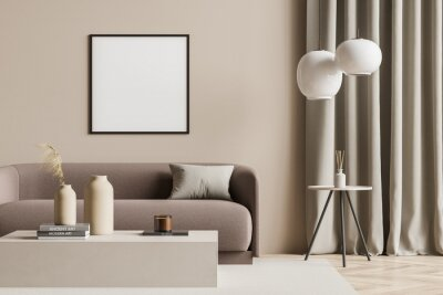Bild Empty canvas in a beige living room with modern details