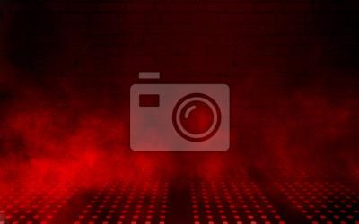 Bild Empty scene background. Dark background of empty room, neon red light, concrete floor, smoke