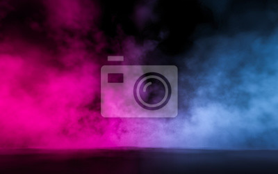 Bild Empty scene  with glowing pink and blue smoke environment atmosphere on floor.  Fashion vibrant colors spectrum background. 3d rendering.