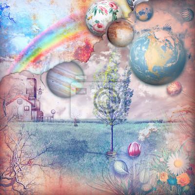 Enchanted Bauernhaus auf dem Land mit Regenbogen