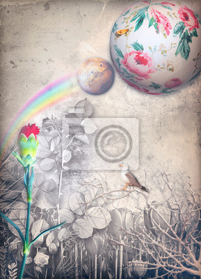 Enchanted country with rainbow and red carnation