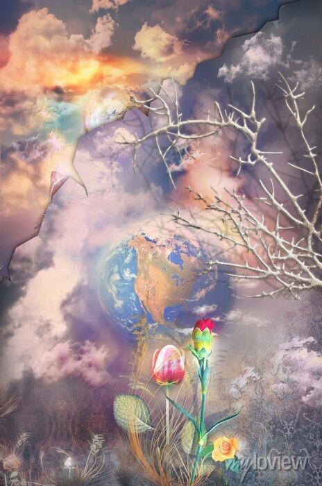 Bild Enchanted und fantastische Landschaft mit bunten Blumen-Serie