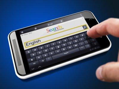 English in Search String on Smartphone.