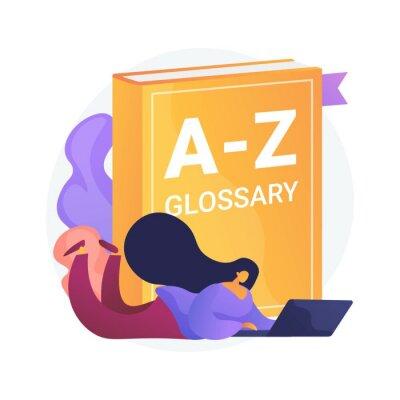 Bild English language studying. Internet glossary, modern vocabulary, dictionary idea. Translator with laptop. Woman searching definition online. Vector isolated concept metaphor illustration