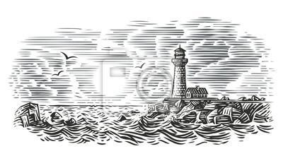 Bild Engraving style illustration of beacon. Vector.