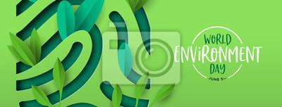 Bild Environment Day banner of green cutout fingerprint