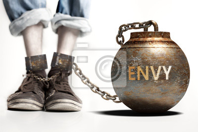 Bild Envy can be a big weight and a burden with negative influence - Envy role and impact symbolized by a heavy prisoner's weight attached to a person, 3d illustration