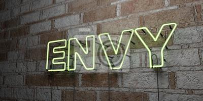 Bild ENVY - Glowing Neon Anmelden auf stonework Wand - 3D gerendert lizenzfreie Stock Illustration. Kann für Online-Bannerwerbung und Direktwerbung verwendet werden ..