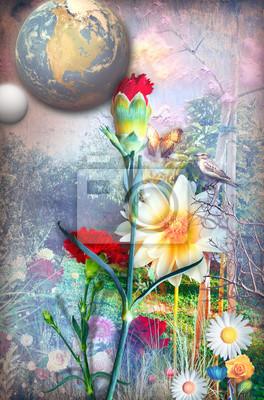 Erstaunlicher Garten mit bunten Blumen des Frühlings