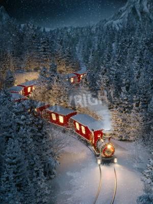 Bild Erstaunlicher netter Weihnachtszug geht durch fantastischen Winterwald im Nordpol. Ungewöhnliche Weihnachten 3D-Darstellung