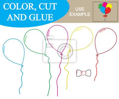 Erstellen sie das bild von ballons. arbeitsblatt. farbe, schneiden ...