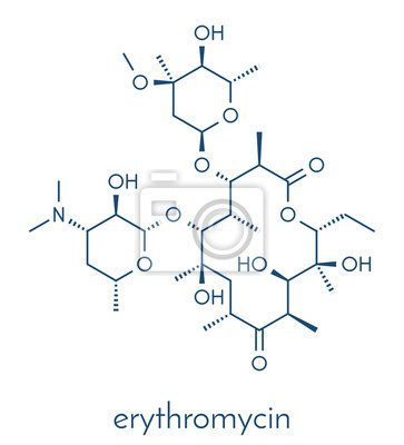 Erythromycin-antibiotikum (makrolid-klasse), chemische struktur ...