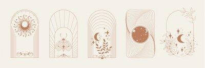 Bild Esoteric Linear Boho Logos and Frames elements. Boho arch frame with celestial moth, moon, flower. Mystical vector illustration