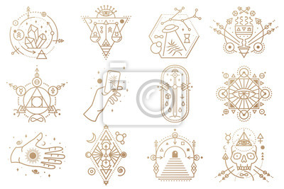 Bild Esoteric symbols. Vector. Thin line geometric badge. Outline icon for alchemy, sacred geometry. Mystic and magic design with crystals, sun, ufo flying, stars, gate to another world and moon.