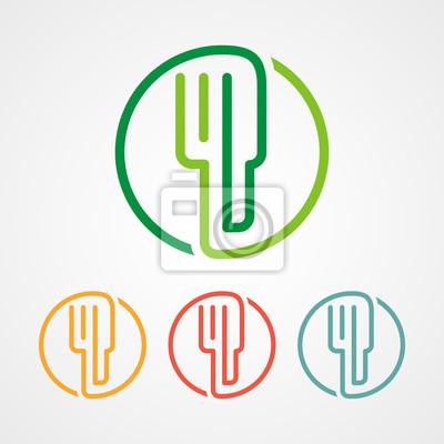 Essen strich logo logo mit verschiedenen farben leinwandbilder ...