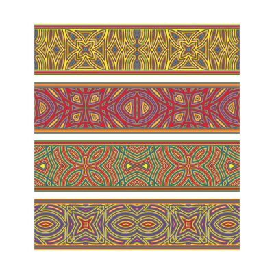 Ethnic patterned ribbon design. Move ornament elements to Brush Panel to create vector pattern brushes.