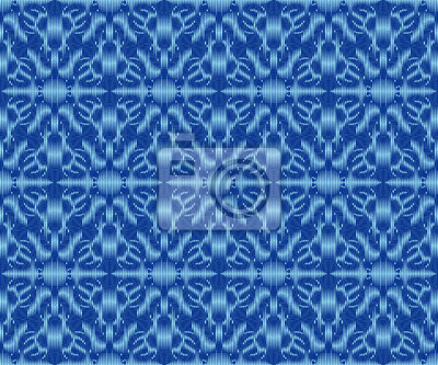 Ethnic patterned textile texture indigo dyed ikat seamless pattern.