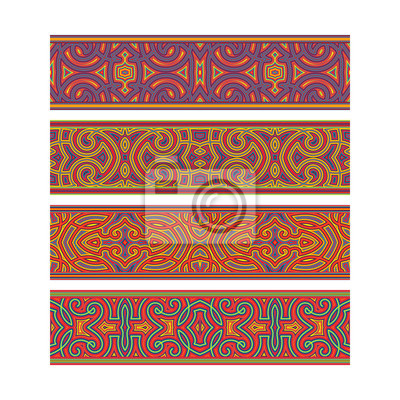 Ethnic tribal ribbon design. Move ornament elements to Brush Panel to create vector pattern brushes.