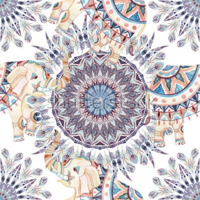 Bild Ethnischer Elefant- und Federmandalahintergrund des Aquarells. Nahtloses Muster der abstrakten Federmandala mit aufwändigen indischen Elefanten auf weißem Hintergrund. Handgemalte Illustration für Boh