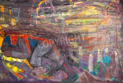 Bild Ethnographie, M.Sh. Khaziev. Geehrter Künstler von Tatarstan. Das Bild in Öl gemalt. Schlafender Mann
