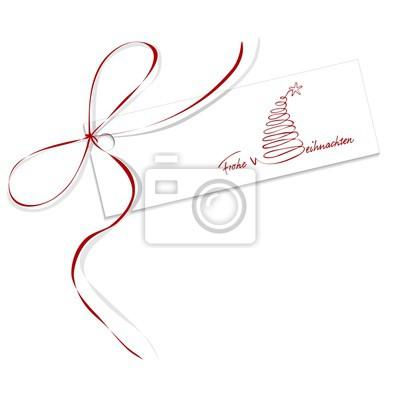Etiketten Frohe Weihnachten.Bild Etikett Frohe Weihnachten Mit Roter Schleife Und Schriftzug Mit