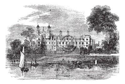 Bild Eton College in Windsor, England, Großbritannien, vintage Gravur
