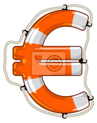 Euro sign isolated lifebuoy
