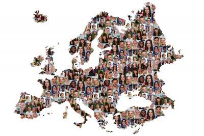 Bild Europa Karte Menschen junge Leute Gruppe Integration multikultur