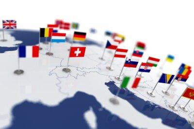 Bild Europa-Karte mit Ländern Flaggen