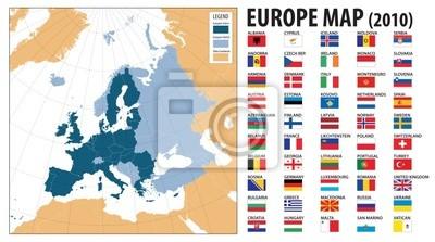 Kosovo Karte Europa.Bild Europa Karte Und Fahnen Darunter Die Turkei Und Kosovo