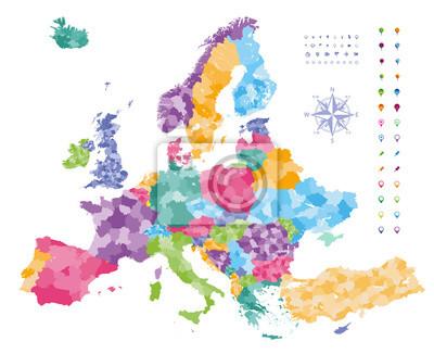 Europakarte Nordeuropa Karte.Bild Europa Karte Von Ländern Mit Regionen Grenzen Gefärbt Navigation
