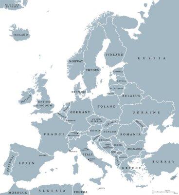 Bild Europa-Länder politische Karte mit nationalen Grenzen und Ländernamen. Englisch Beschriftung und Skalierung. Illustration auf weißem Hintergrund.