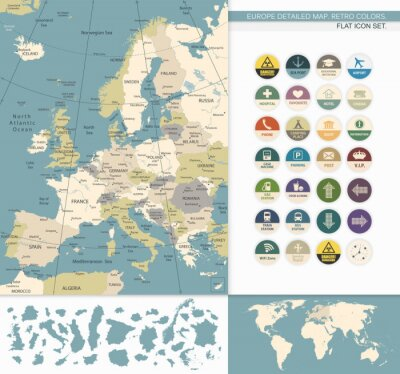 Bild Europe detaillierte map.Retro Farben