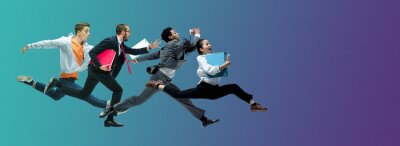Bild Evening. Happy office workers jumping and dancing in casual clothes or suit isolated on gradient neon fluid background. Business, start-up, working open-space, motion, action concept. Creative collage