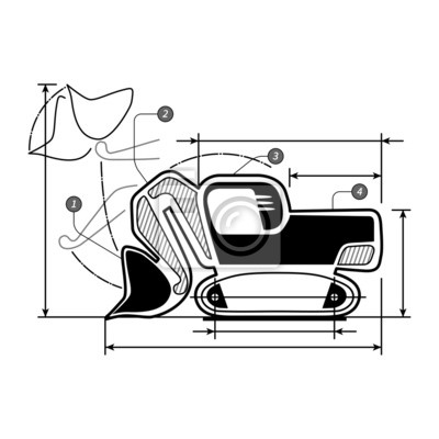 Excavator front shovel bucket icon with dimensions lines