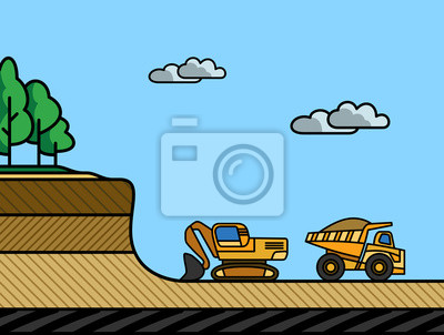 Excavator load the dump truck. Removal of the overburden