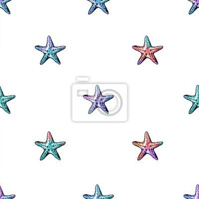 Bild Exotische Seesterne bunte nahtlose Muster.