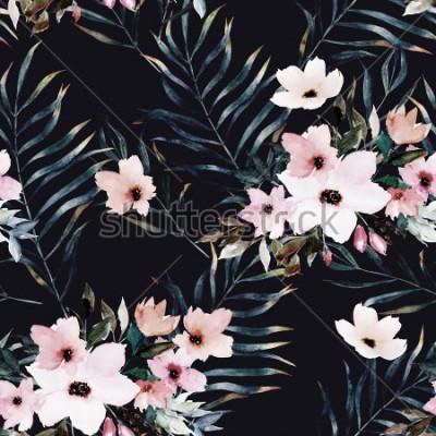 Bild Exotisches nahtloses Muster des Aquarells, grüne tropische Blätter, Blumen, botanische Sommerillustration auf schwarzem Hintergrund