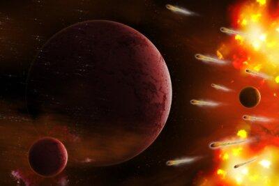 Bild Explosion des Raumes / Explosion des Raumes mit Kometen Angriff Planeten. Digitale Retusche.